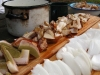 Preparing wild mushrooms while camping at Bear Spring Mountain, New York